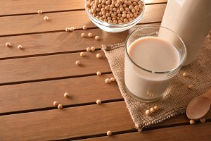 Soy milk in rustic kitchen elevated