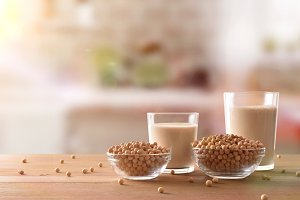 Soy milk in rustic kitchen