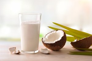 Coconut milk in glass front