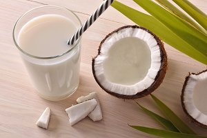 Coconut milk in glass elevated