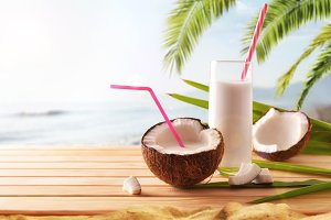 Coconut milk on the beach