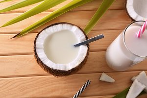 Coconut milk in coconut fruit top