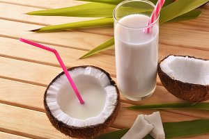 Coconut milk in fruit elevated