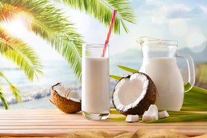 Coconut milk on the beach general