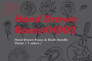 Hand Drawn Roses Bundle HD02
