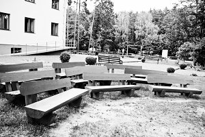 Row of wooden benches outdoor