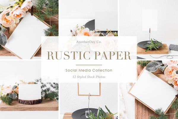 Product Mockups: Anotherday Co. - Rustic Paper Styled Stock Photos