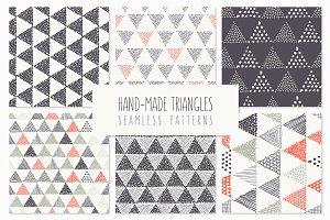 Triangles. Seamless Patterns. Set 4