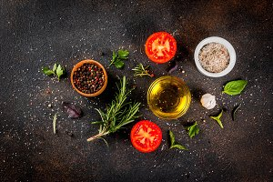 Cooking herbs and spices background