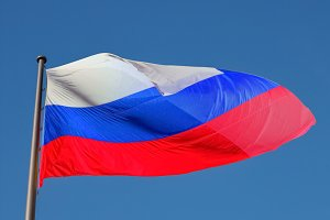 Russian Flag of Russia over blue sky
