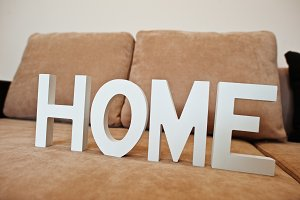 White wooden letters HOME