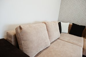 Bicolor cofee corner sofa bed
