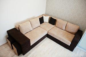 Bicolor cofee corner sofa bed