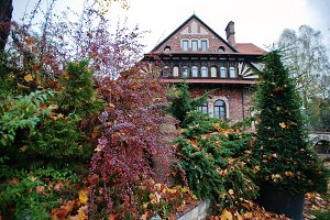 Autumn yard of old gothic mansion