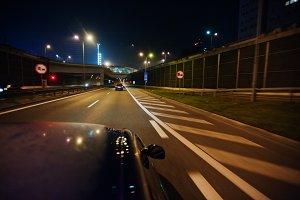 Night driving motion blur at city