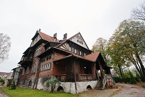 Old abandoned brick  mystic mansion