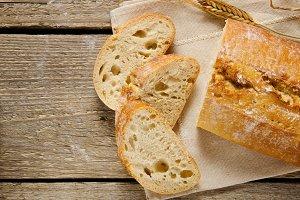 Ciabatta bread. Rustic style