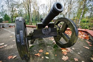 Ancient wheeled cast iron cannon