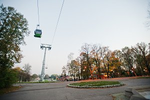 Cable car at evening park