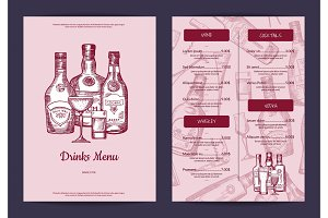 Vector drinks menu template for bar, cafe or restaurant