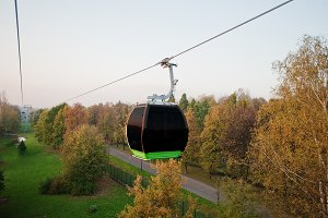 Cable car at autumn park