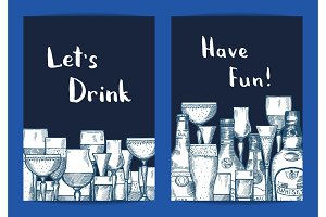 Vector hand drawn alcohol drink bottles and glasses set of card templates