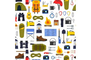 Vector flat style camping elements pattern or background illustration