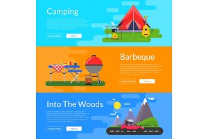 Vector flat style camping elements banners illustration