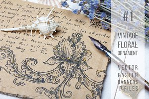 Vintage floral ornament pack
