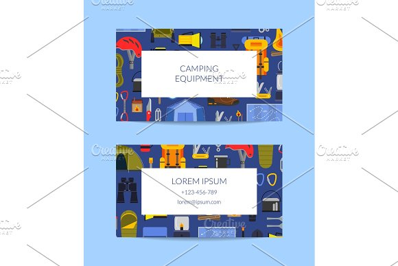 Vector Business Card Template For Camping Or Outdoor Sports