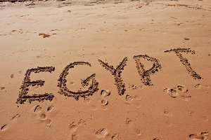 """Egypt"" written in the sand"