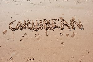 """Caribbean"" written in the sand"