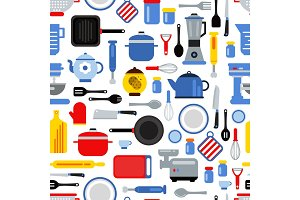 Vector pattern or background illustration with flat style kitchen utensils