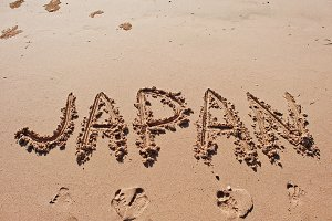 """Japan"" written in the sand"