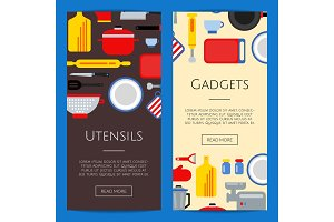 Vector flat style kitchen utensils banners illustration