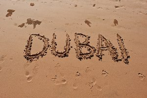 """Dubai"" written in the sand"