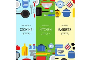 Vector flat style kitchen utensils vertical web banners illustration