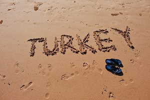 """Turkey"" written in the sand"