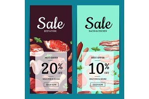 Vector cartoon meat elements sale banners illustration