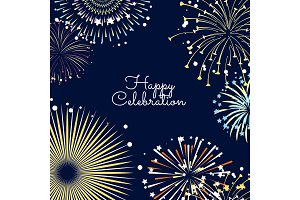 Vector fireworks background illustration with place for text