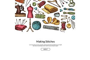 Vector hand drawn sewing elements background illustration