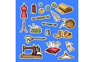 Vector set of hand drawn sewing elements stickers