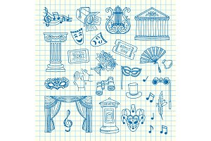 Vector set of doodle theatre elements illustration