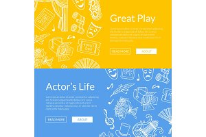 Vector doodle theatre elements web banners illustration