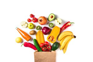 Healthy food in paper bag
