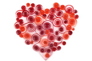 curling paper red heart