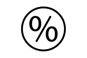 percent sign vector icon symbol