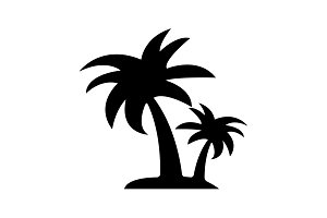 palm tropical tree icon (silhouette)