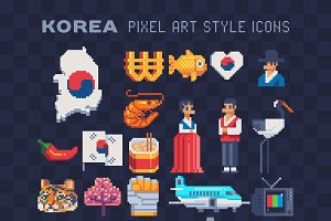 Pixel art Korea icons set.