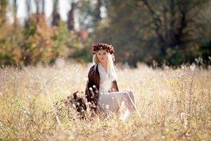 girl with retro suitcase